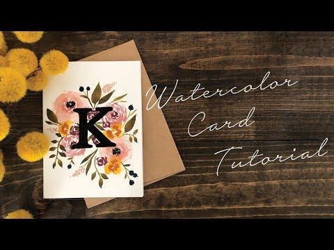 Monogram Watercolor Card Tutorial (beginner) thumbnail
