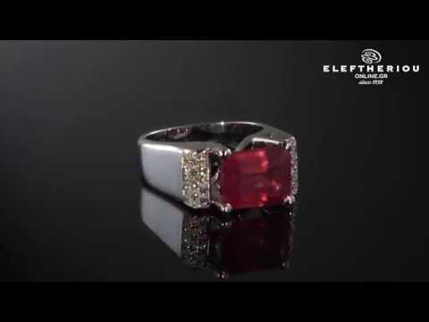 Δαχτυλίδι λευκόχρυσο Κ18 με Ρουμπίνι   Διαμάντια - 18K Diamond Ring -  MD0204700018 b0af8f340e5