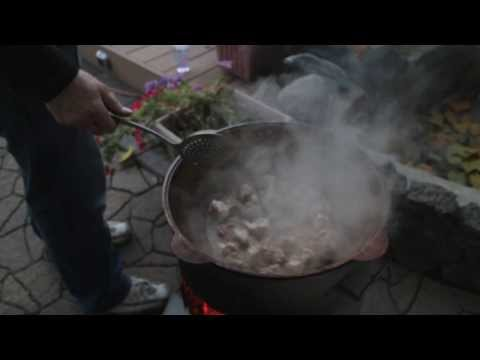 Family Cooking Middle Eastern Plov - Pilaf - Outdoors -
