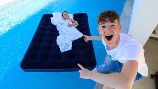 LITTLE BROTHER WAKES UP IN SWIMMING POOL PRANK!