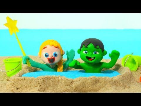 BABY HULK MAKES A SAND POOL ❤ Superhero & Frozen Elsa Play Doh Cartoons For Kids