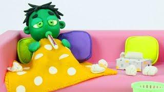 Baby Hulk has a cold 💕 Superhero Play Doh Stop motion cartoons