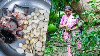 Village Cooking: Taro with Fish Head Cooking Recipe by Village Food Life