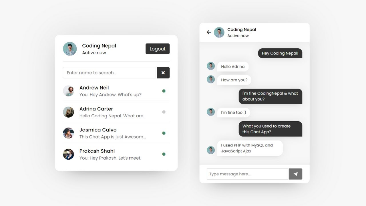 Online chat php