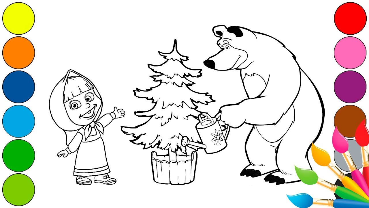 How To Drawing Masha And The Bear Coloring Book For Kids