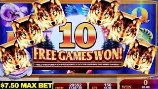 Golden Wolves Slot Machine $7.50 Max Bet Bonus Won   Live Slot Play   Konami Slot