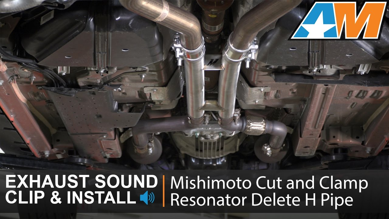 2015 2017 mustang gt mishimoto cut and clamp resonator delete h pipe sound clip install