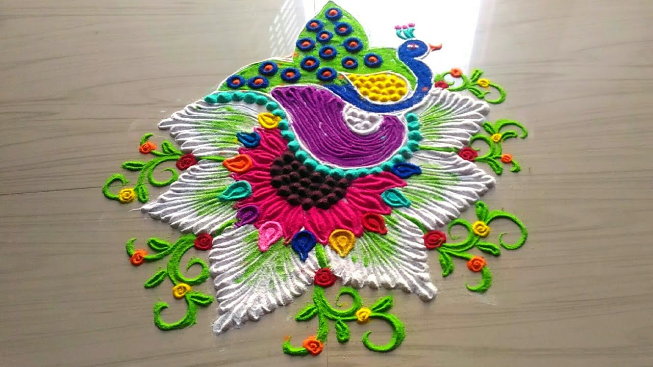 peacock rangoli video