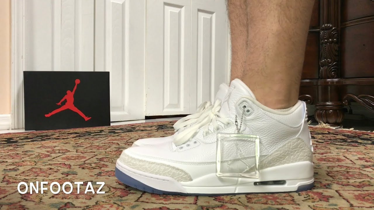 new product 670ff 4ab64 Air Jordan 3 III Pure White Triple White On Foot