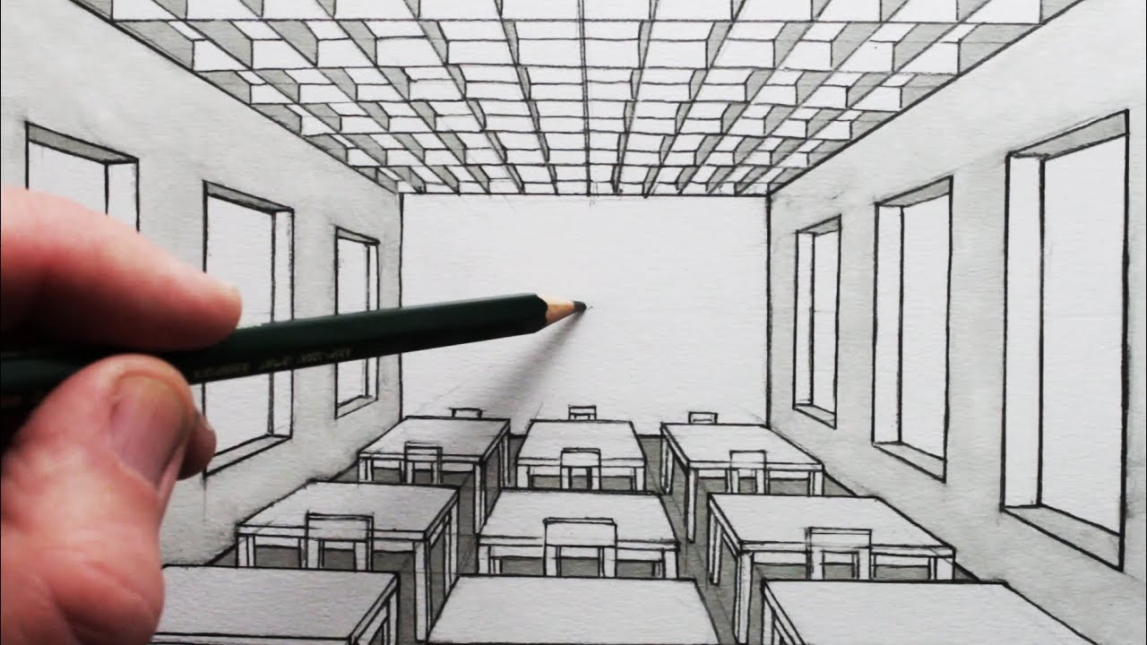 how to draw a room in 1 point perspective a classroom youtube. Black Bedroom Furniture Sets. Home Design Ideas