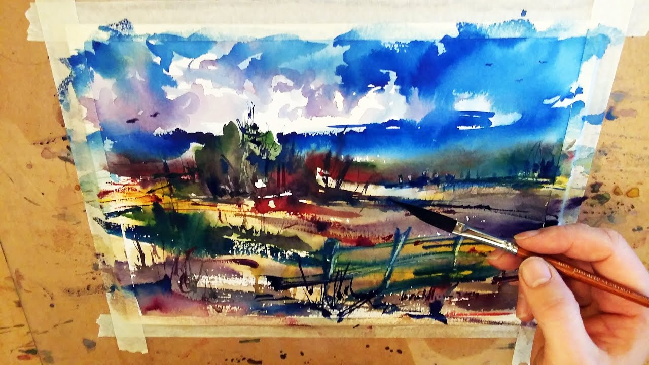 Watercolor painting landscape demonstration rainy day for Watercolor scenes beginners