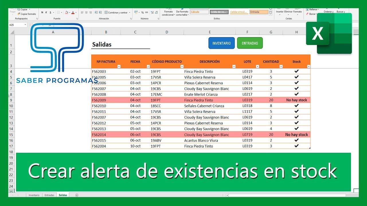 Excel Crear Alerta Para Salidas De Stock En Inventario De Excel Tutorial En Español Hd Youtube