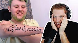 Unge REAGIERT auf Gurkensohns Tattoo! | #ungeklickt