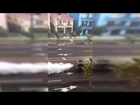 FUMIGATING ZIKA VIRUS IN CUBA MILITARY VEHICLE SPRAYING CHEMICALS ON THE STREETS!!!