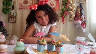 Wonderful Summer Cupcake With Teddy Candy Bear On Beach