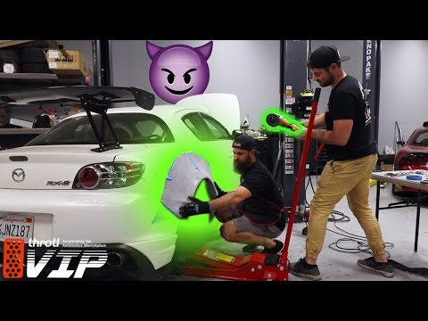CUTTING UP THE RX-8 FOR THE WIDEBODY KIT!!!! Part 1