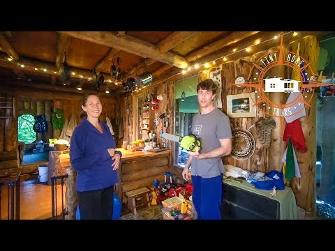 Family Living Off The Grid In The Alaskan Wilderness ~ Tiny House Cabin Tour