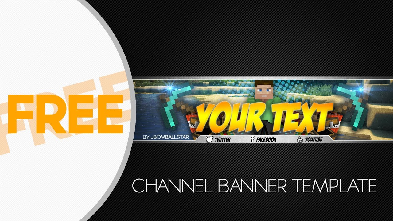 SpeedArt] FREE HD Minecraft Youtube Channel Banner Template + ...