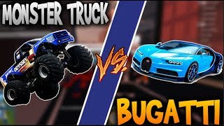 ROBLOX: BUGATTI VEYRON VS MONSTER TRUCK- JAILBREAK