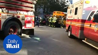 Frantic moments after school bus was struck in NYC truck attack - Daily Mail