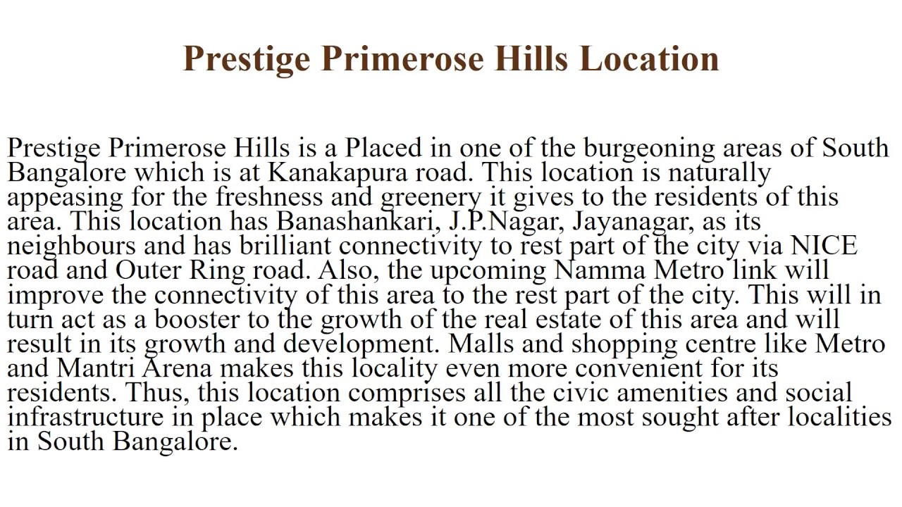 Prestige Primerose Hills New Launch Location Price Review