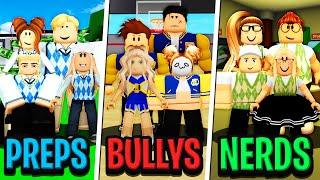 NERD GANG vs BULLY GANG vs PREP GANG in Roblox BROOKHAVEN RP!!