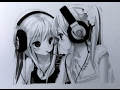 DRAWING two ANIME GIRLS with headphones || graphite pencil