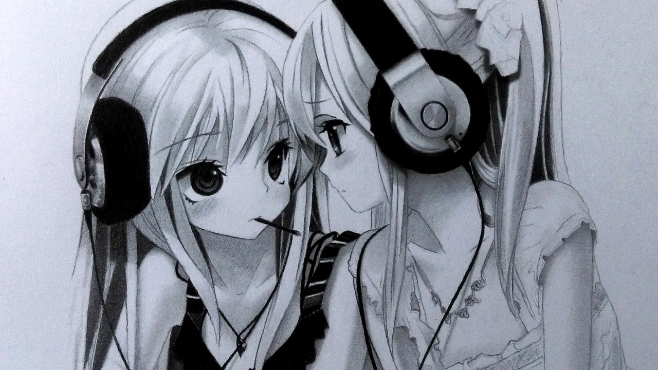 Girl Wearing Headphones Wallpaper Drawing Two Anime Girls With Headphones Graphite Pencil