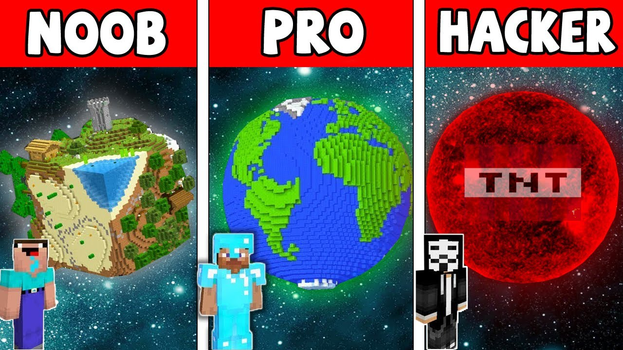 Minecraft NOOB vs PRO vs HACKER : PLANET BASE in Minecraft! Animation!