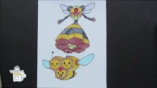 Drawing Pokemon: No. 415 Combee ミツハニー ; No. 416 Vespiqueen