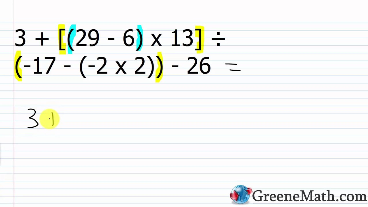 Prealgebra Practice Set 23: The Order of Operations with