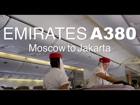 EMIRATES A380 MOSCOW TO JAKARTA economy class report!
