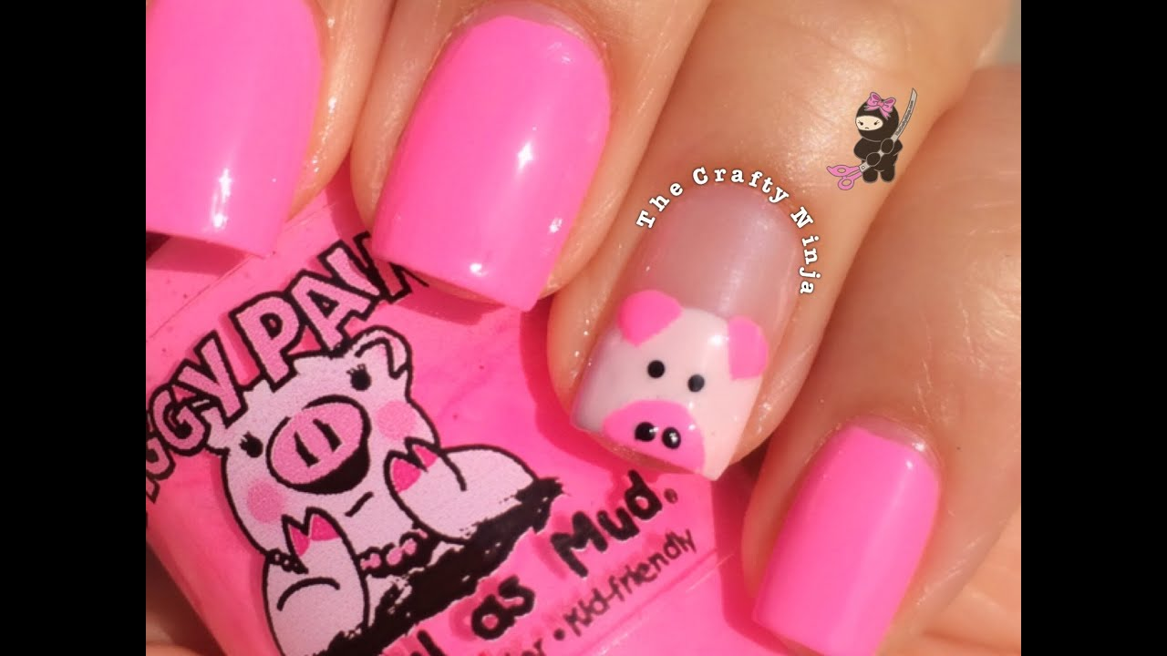 Cute Pig Nail Tutorial by The Crafty Ninja - YouTube