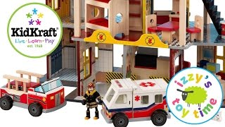 KidKraft Fire Station Playset with Hot Wheels and Fire Trucks | Toy Cars for Kids