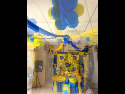 Decoracion de fiesta de los minions decocandy youtube for Decoracion con papel