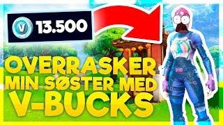OVERRASKER MIN SØSTER MED 13.500 V-BUCKS!! (DANSK FORTNITE)