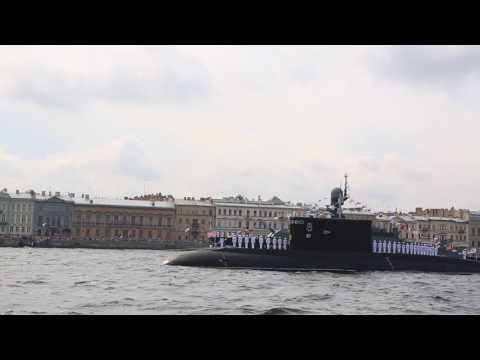 Navy day parade in Saint Petersburg. Travel to Russia