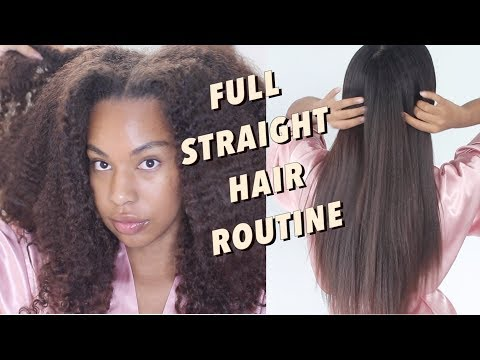 FULL CURLY to Straight Natural Hair Routine- Cleanse, Condition, Blow Dry, Flat Iron