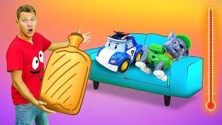 Веселая Школа надетской площадке— Щенячий Патруль и машинки— Грелка для игрушек