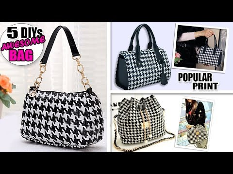 5 DIY POPULAR PRINT DESIGN PURSE BAG // Cute Goose Paws Woman Bag Ideas - YouTube