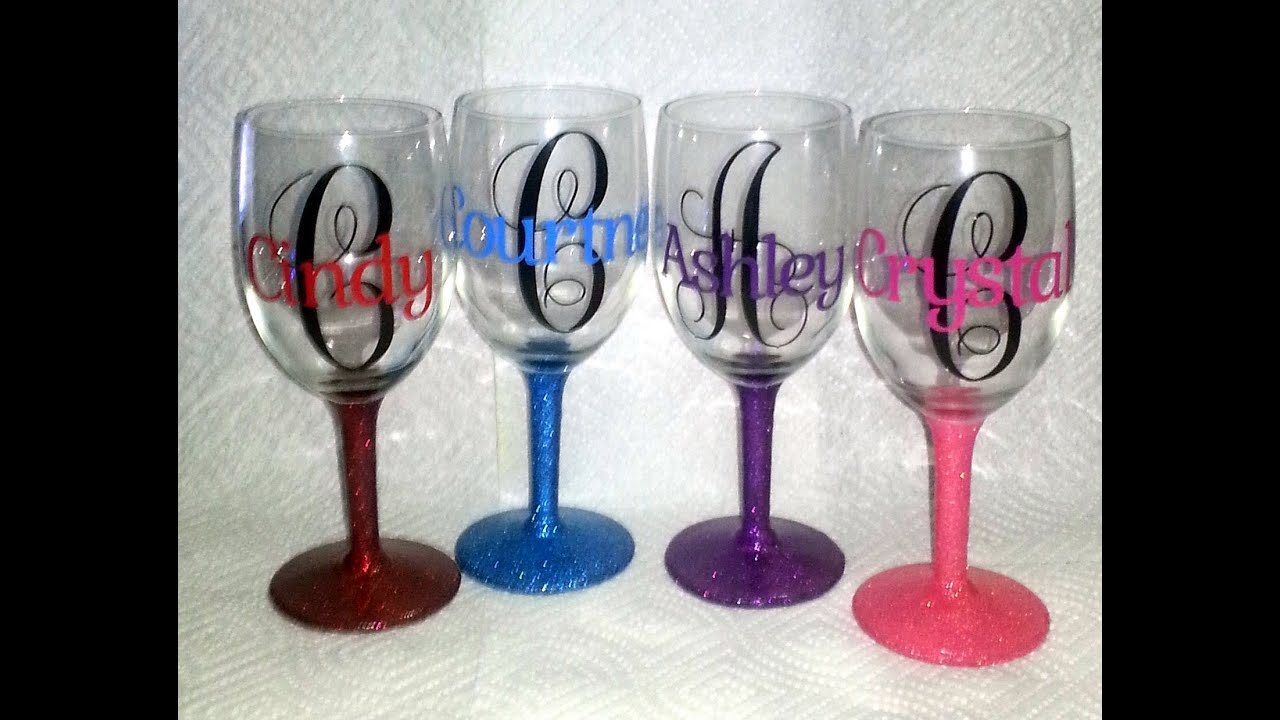 Personalized Wine Glasses YouTube - Custom vinyl decals for glass