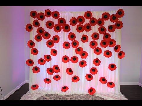 Poppy Seed paper flower Backdrop DIY