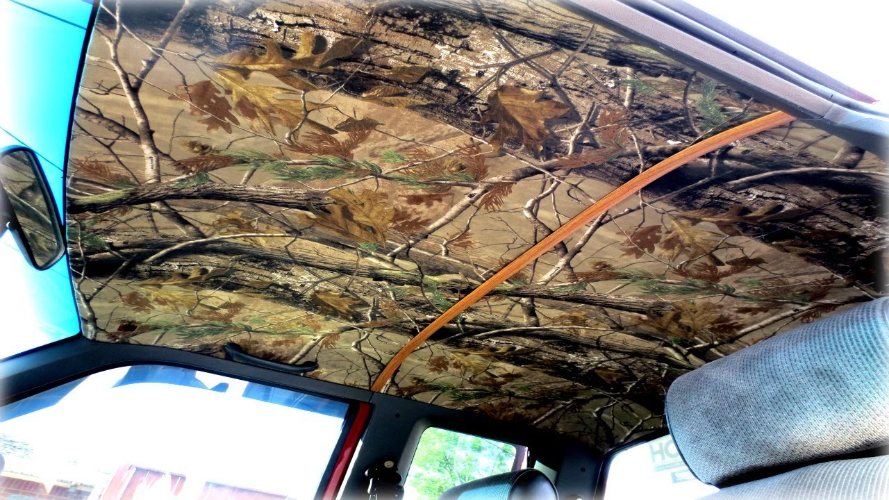 How to custom camo headliner youtube Car interior ceiling fabric repair