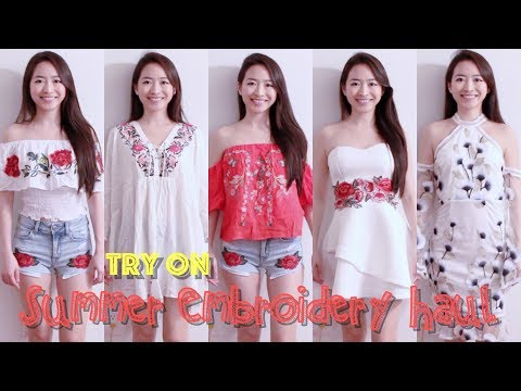 ❤️ Elaine Hau - 夏天刺繡衣服購物分享 ☀️ Summer Embroidery Try On Haul 👗 Forever 21, Lulus, Love Culture, AEO