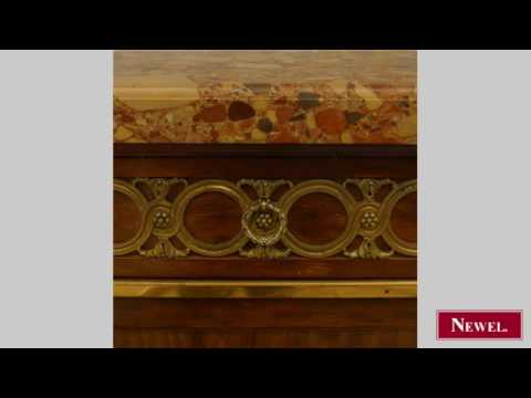 """Antique French Victorian """"plum pudding"""" mahogany buffet"""