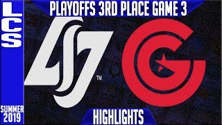 CLG vs CG Highlights Game 3 | LCS Summer 2019 Playoffs 3rd Place | Counter Logic Gaming vs Clutch
