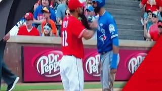 Odor vs Bautista fight during rangers & blue jays game