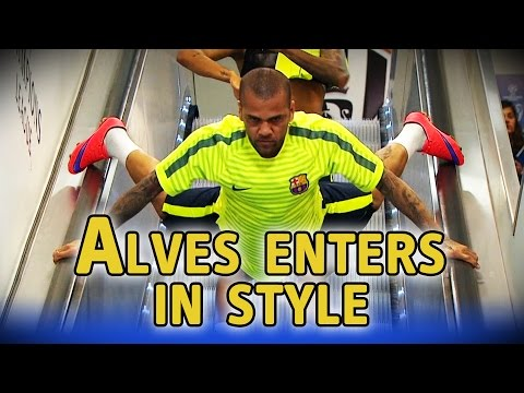 Dani Alves goes down escalator head first ahead of Champions League final