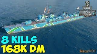 World of WarShips | Yūgumo | 8 KILLS | 168K Damage - Replay Gameplay 1080p 60 fps