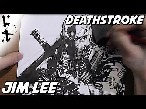 Jim Lee drawing Deathstroke